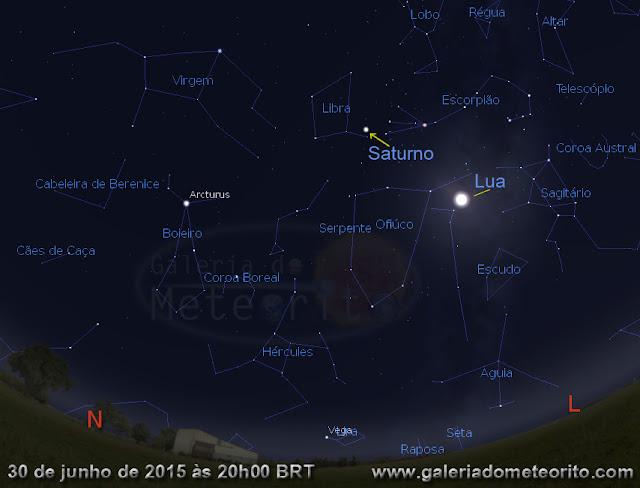 Saturno no céu - dia 30 de julho de 2015
