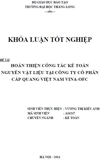 Hoàn thiện công tác kế toán nguyên vật liệu tại công ty cổ phần cáp quang Việt Nam VINA – OFC