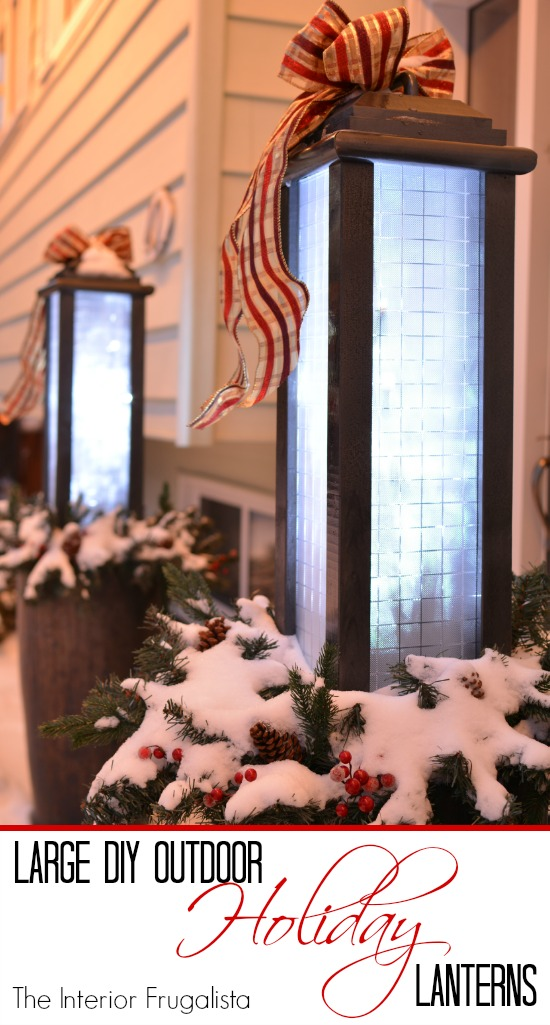 How To make large budget-friendly outdoor holiday lanterns with scrap wood that are on convenient set and forget timers to flank the front door.