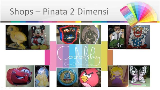 supplier Pinata Ultah anak 2d murah untuk birthday party di tangerang, Jakarta, bekasi, dan bogor.