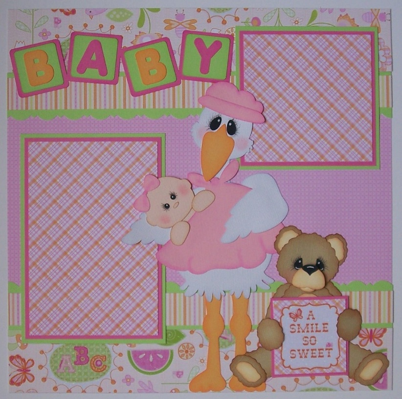 BLJ Graves Studio: Baby Girl Scrapbook Layout