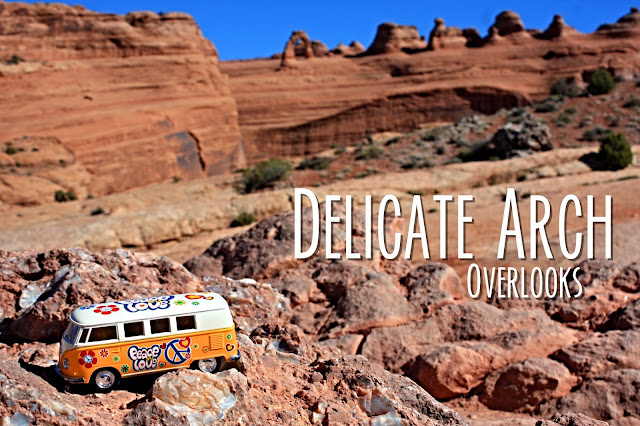 Title card showing the yellow van with the Delicate Arch landscape