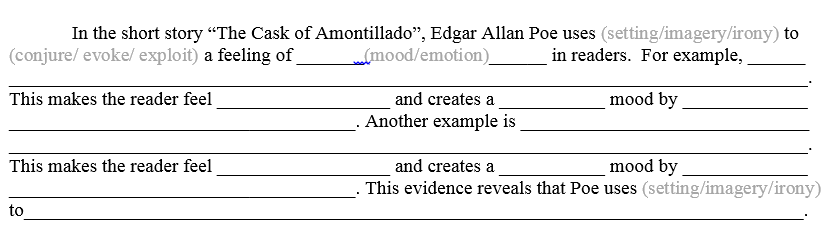 cask of amontillado response paper The cask of amontillado is a story of revenge, but the reader is never told  exactly what fortunato did to warrant such vengeance in fact, throughout the  story,.