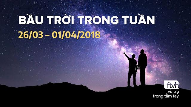 Bầu trời trong tuần từ 26/03 đến 01/04/2018.
