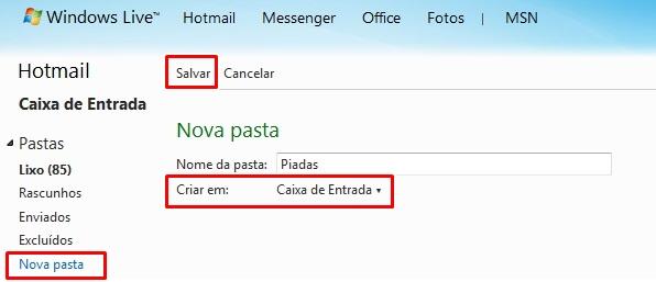 criar pastas novas no Hotmail