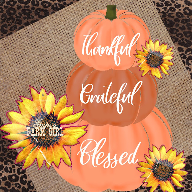 digital graphic with pumpkins, sunflowers, burlap, and leopard print