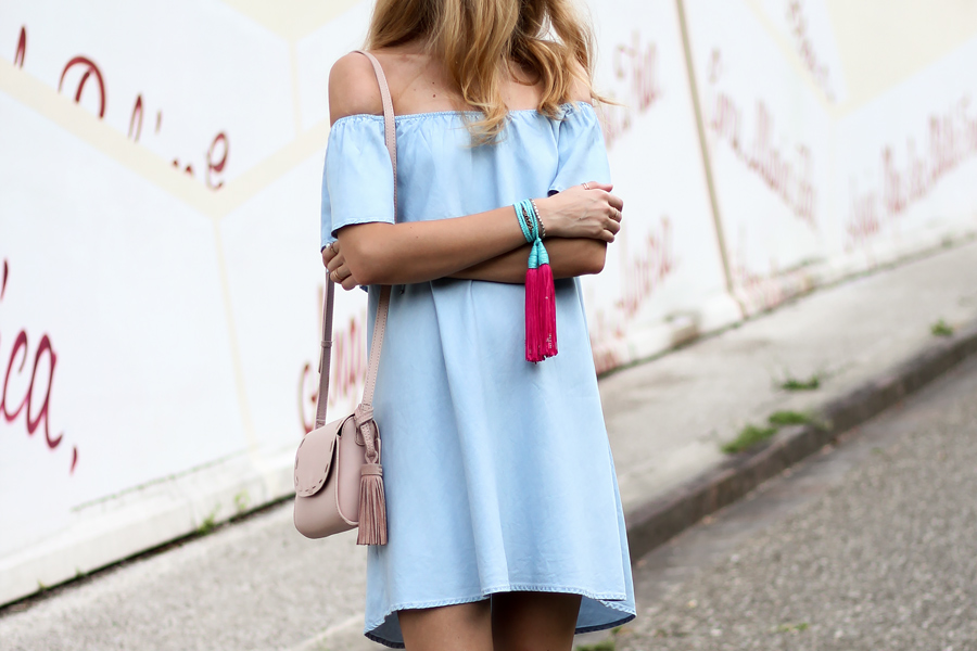 off shoulder denim dress, tassel bracelet