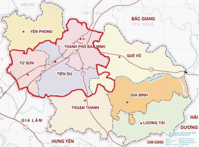 Bản đồ tiếp giáp của Bắc Ninh với các tỉnh lân cận khác.