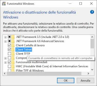 attivare client telnet su Windows 10