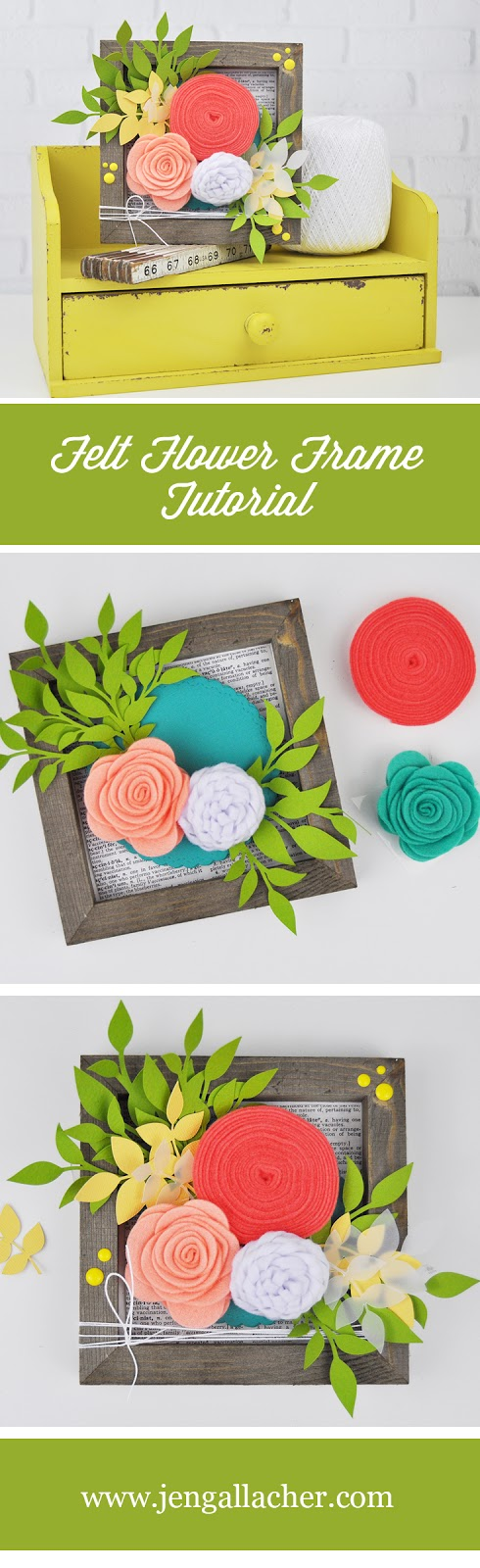 """How to add felt flowers to a wooden frame. Jillibean Soup """"Mix the Media"""" frame and felt flowers. Wooden frame and felt flower tutorial with Jen Gallacher. #jillibeansoup #woodenframediy #feltflowers #jengallacher #papercrafts"""