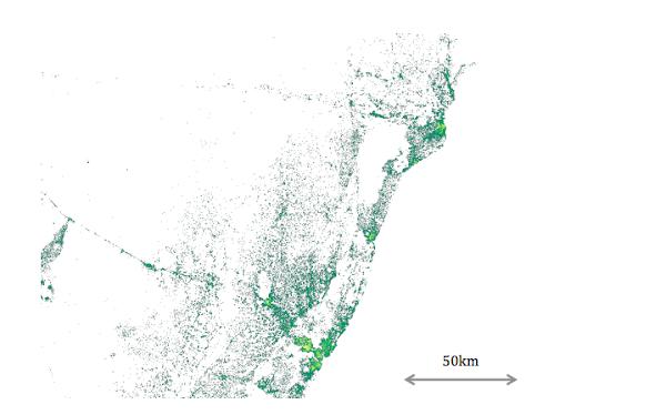 Facebook人口詳細分布地圖。Facebook提供。