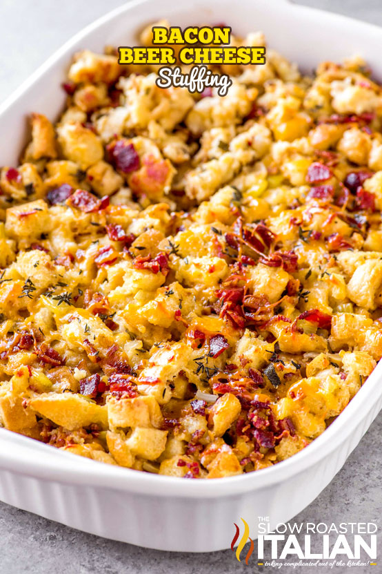 titled image of beer cheese bacon stuffing casserole