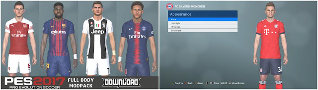 PES 2017 Full Body Mod Like PES 2019