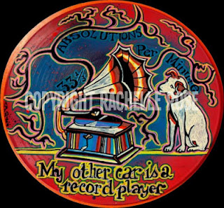 Painted LP vinyl record with a great dog.  Inspired by summer visions in my car.
