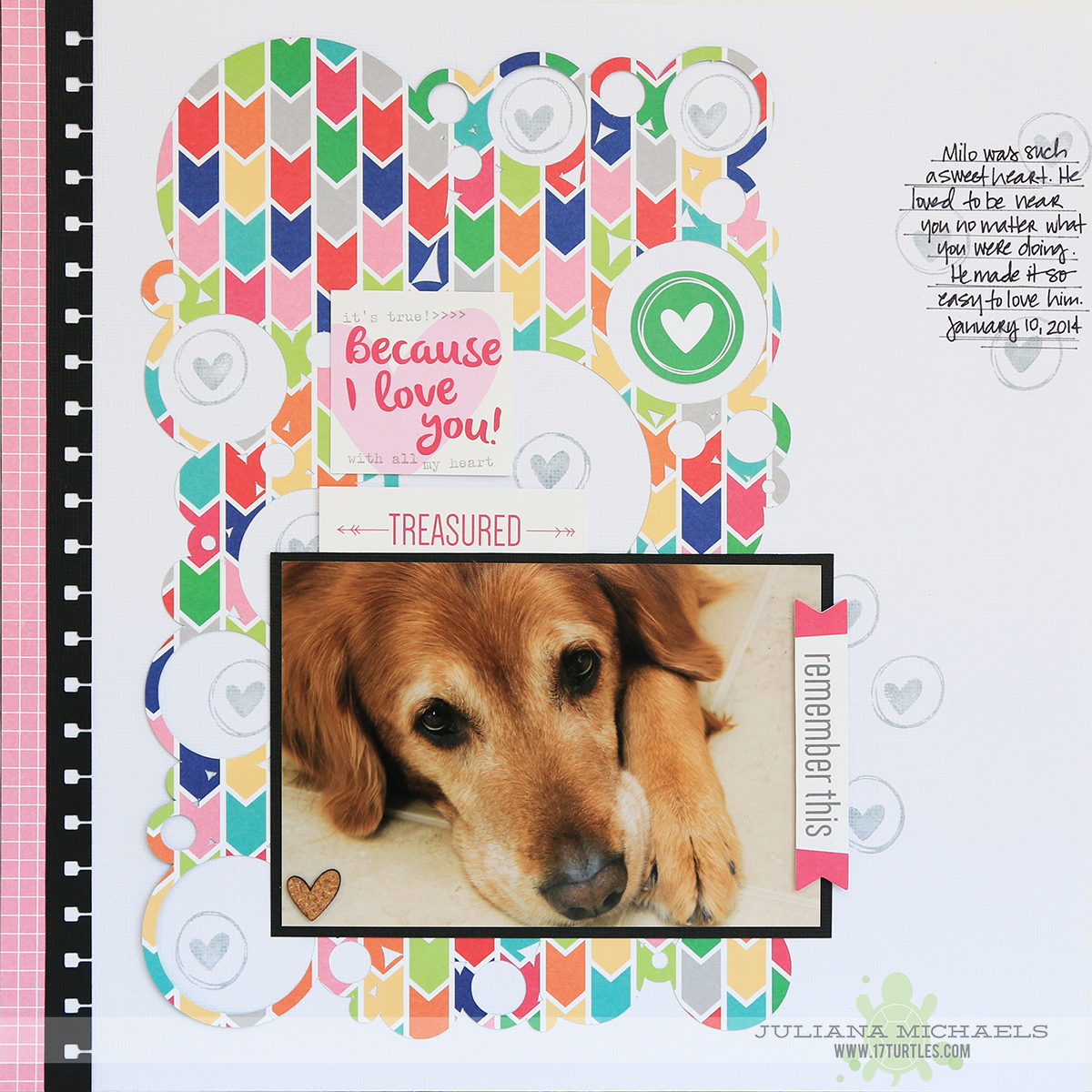 Because I Love You Scrapbook Page by Juliana Michaels featuring Elle's Studio Shine collection and September 2014 Exclusive Kit