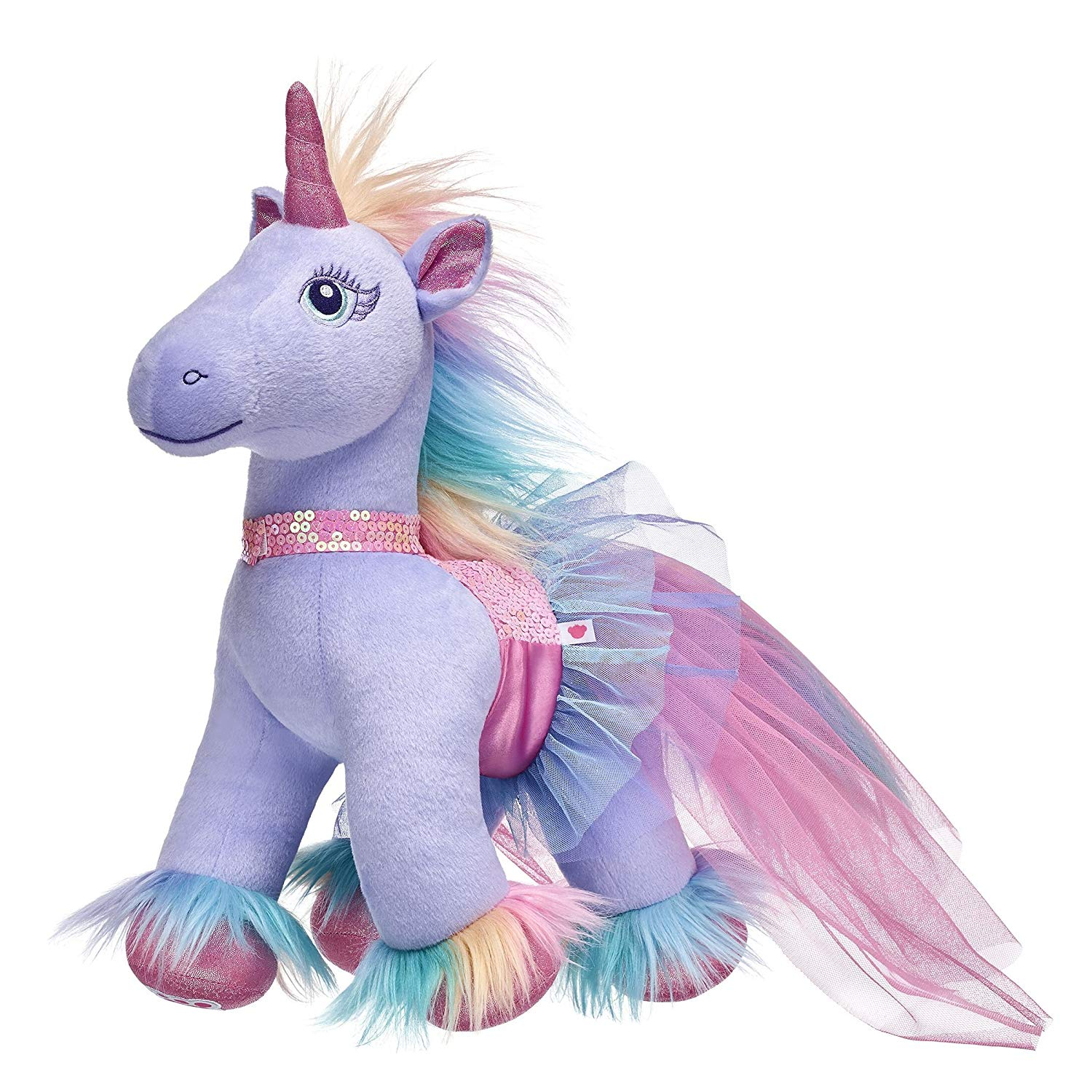 Build A Bear Workshop Enchanted Pastel Plush Unicorn & Sequin Dress Gift Set