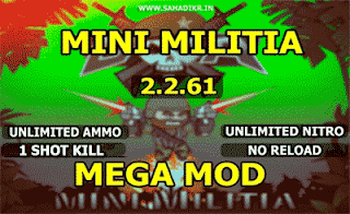 Mini Militia 2.2.61 Mega Mod Pro Pack And Unlimited Nitro + Unlimited Ammo ONE SHOT KILL MOD [Exclusive]!LATEST 2016