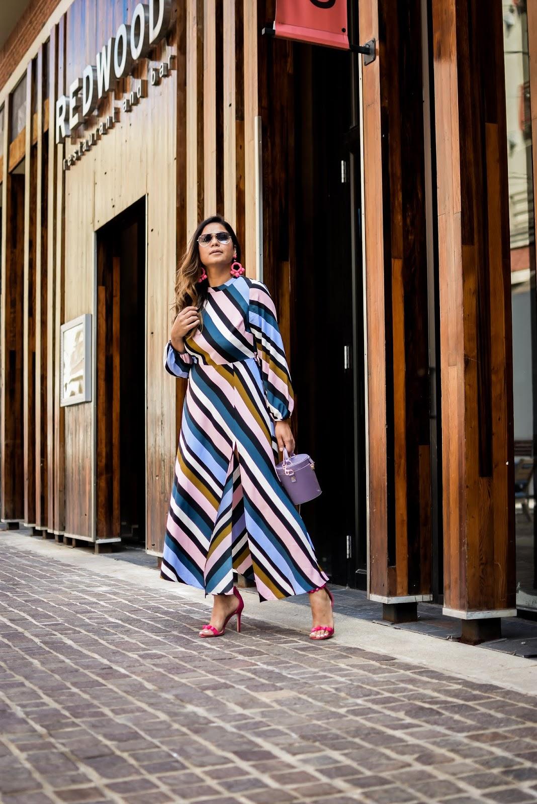 topshop stripe dress, front slit dress nordstrom, under $100 dress, fall dresses, white vest, gillet style, sam edleman pink beaded heels, fall ootd, fall fashion, dc blogger, statement earrings, myriad musings