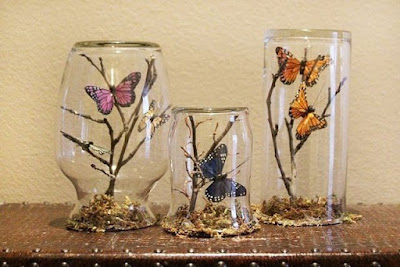 Лето в стакане. Летняя поделка с бабочками - МК, Как сделать композицию в стеклянной банке своими руками, поделки в стеклянной банке, оформление стеклянных банок,