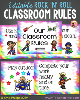 Rock n Roll themed Classroom Rule Posters