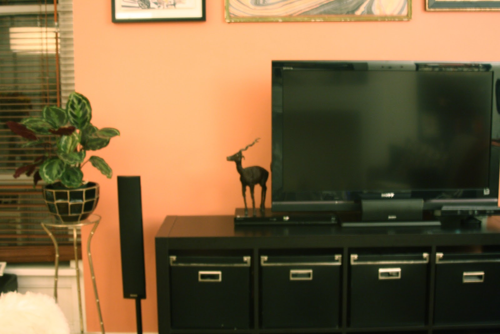 in-progress accent wall and television set up