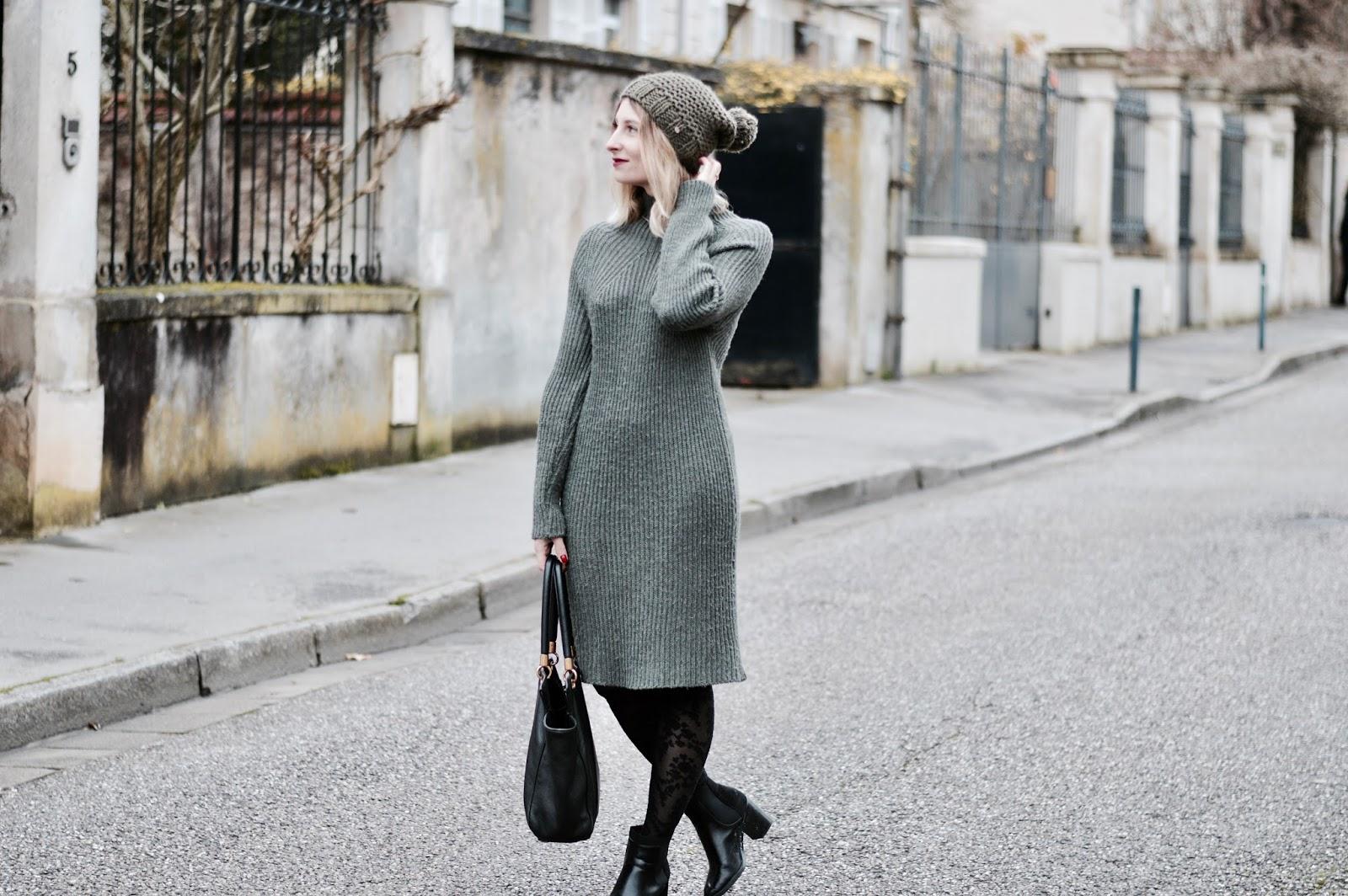 look femme hiver 2018 : robe pull kaki