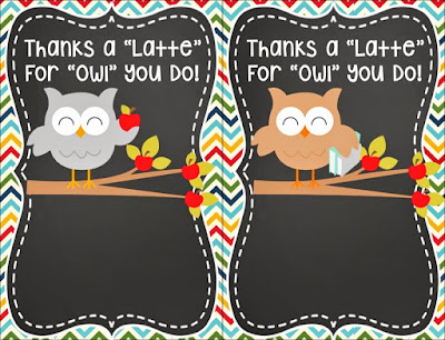 Thanks a Latte Teacher Cards