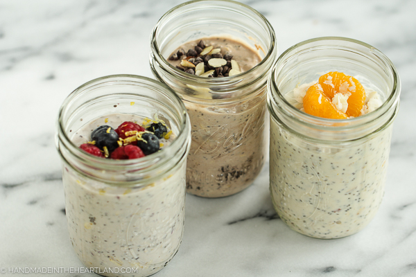 Overnight oat recipes for 3 different flavors