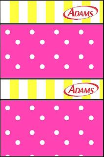 Etiquetas de Chlicle Adams de Rosado y Amarillo para imprimir gratis.
