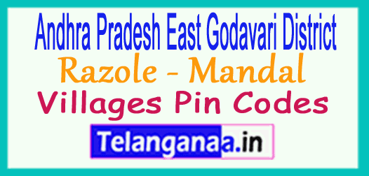 East Godavari District Razole Mandal and Villages Pin Codes in Andhra Pradesh State