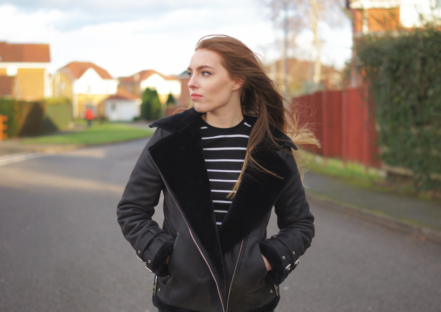 black faux shearling bike jacket
