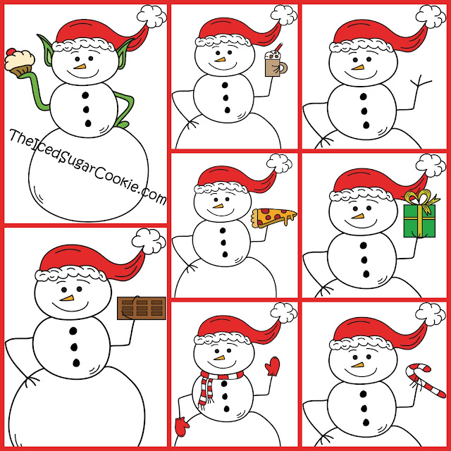 Snowman Cupcake Elf Hot Chocolate Bar Candy Cane Scarf Mittens Pizza Christmas Present Wearing Santa Hat