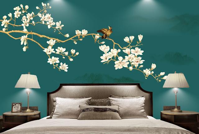 Tranh hoa nền tường 3d