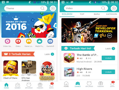 9Apps Halaman Home dan Game