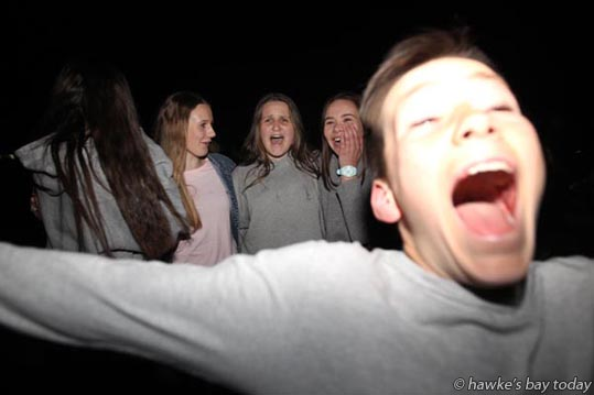 L-R: Ella Rose, Louise Utting, Jazz Brandon, Jorja Taylor, students from Iona College, Havelock North; Photobomber - Blast in the Park and Fireworks Spectacular, Guy Fawkes, Anderson Park, Havelock North. photograph