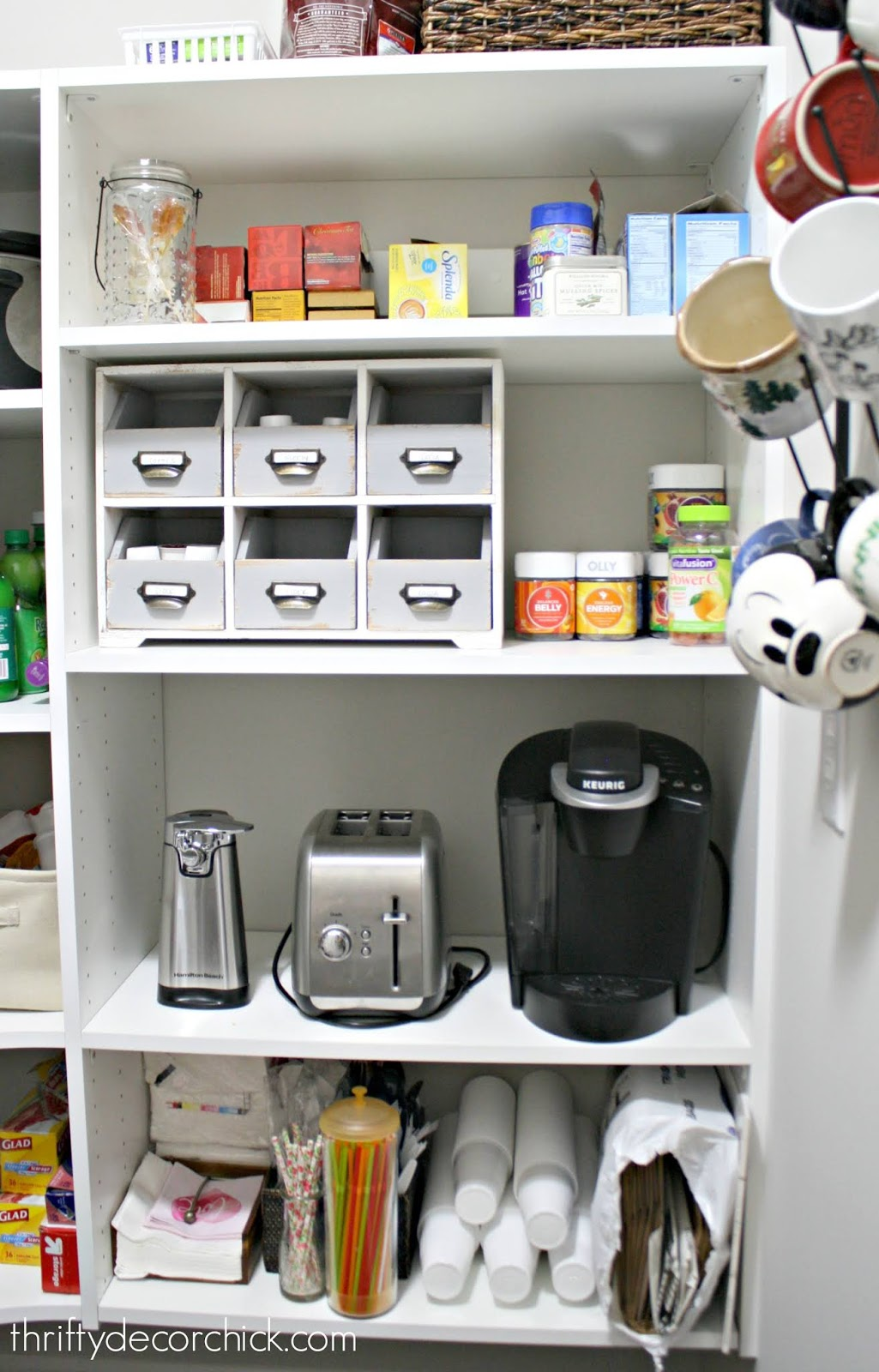 Do-it-yourself pull out shelf for appliances in pantry
