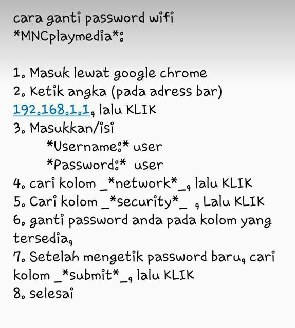 Cara Ganti Password Wifi Mnc Play Mncplay Media Surabaya