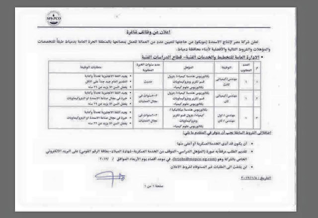 وظائف فى شركة موبكو لإنتاج الأسمدة فى مصر