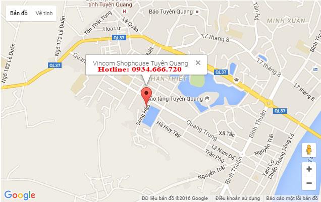 Vị trí Vincom Shophouse Tuyên Quang