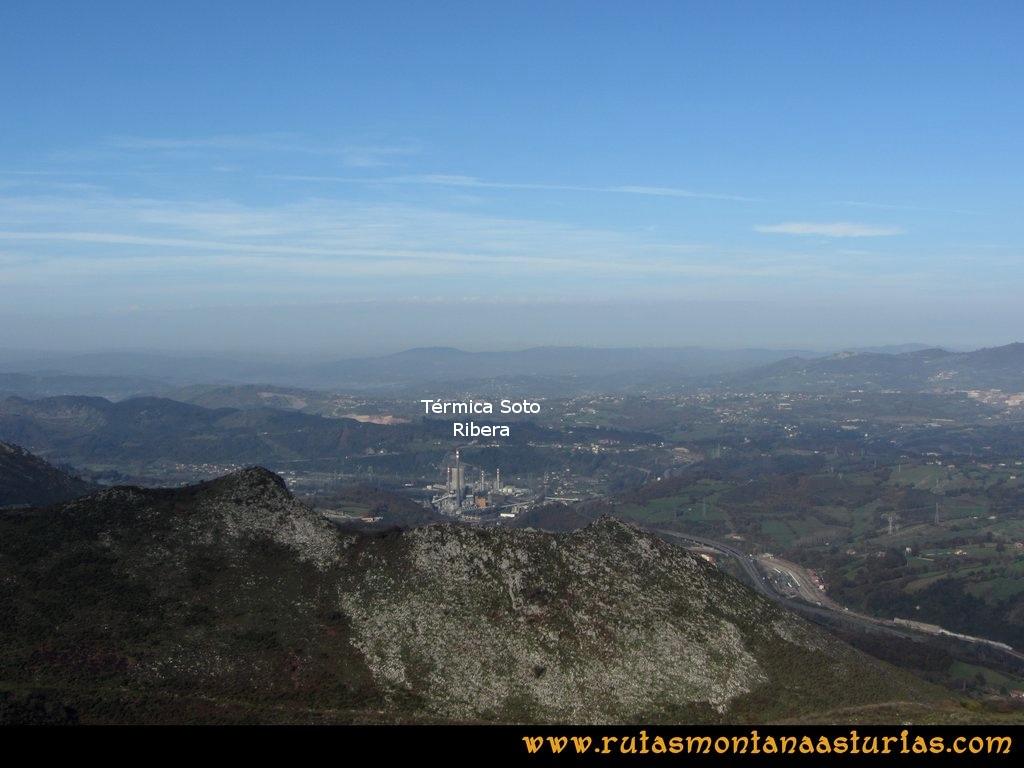 Ruta Baiña, Magarrón, Bustiello, Castiello. Vista de Soto de Ribera desde el Pico Magarrón