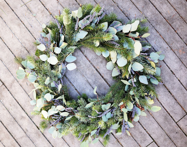 Lavender Holiday Wreath made with organic lavender from Pelindaba Lavender Farm on San Juan Island