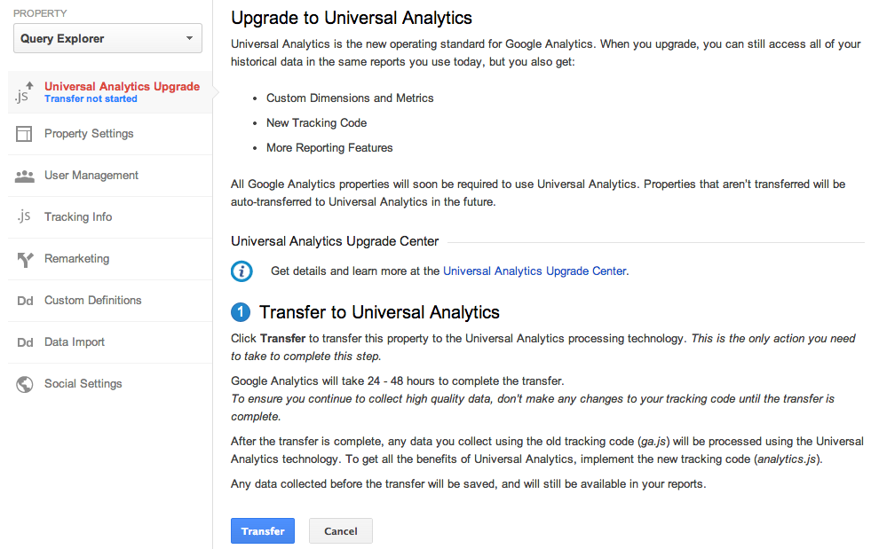 universal analytics upgrade