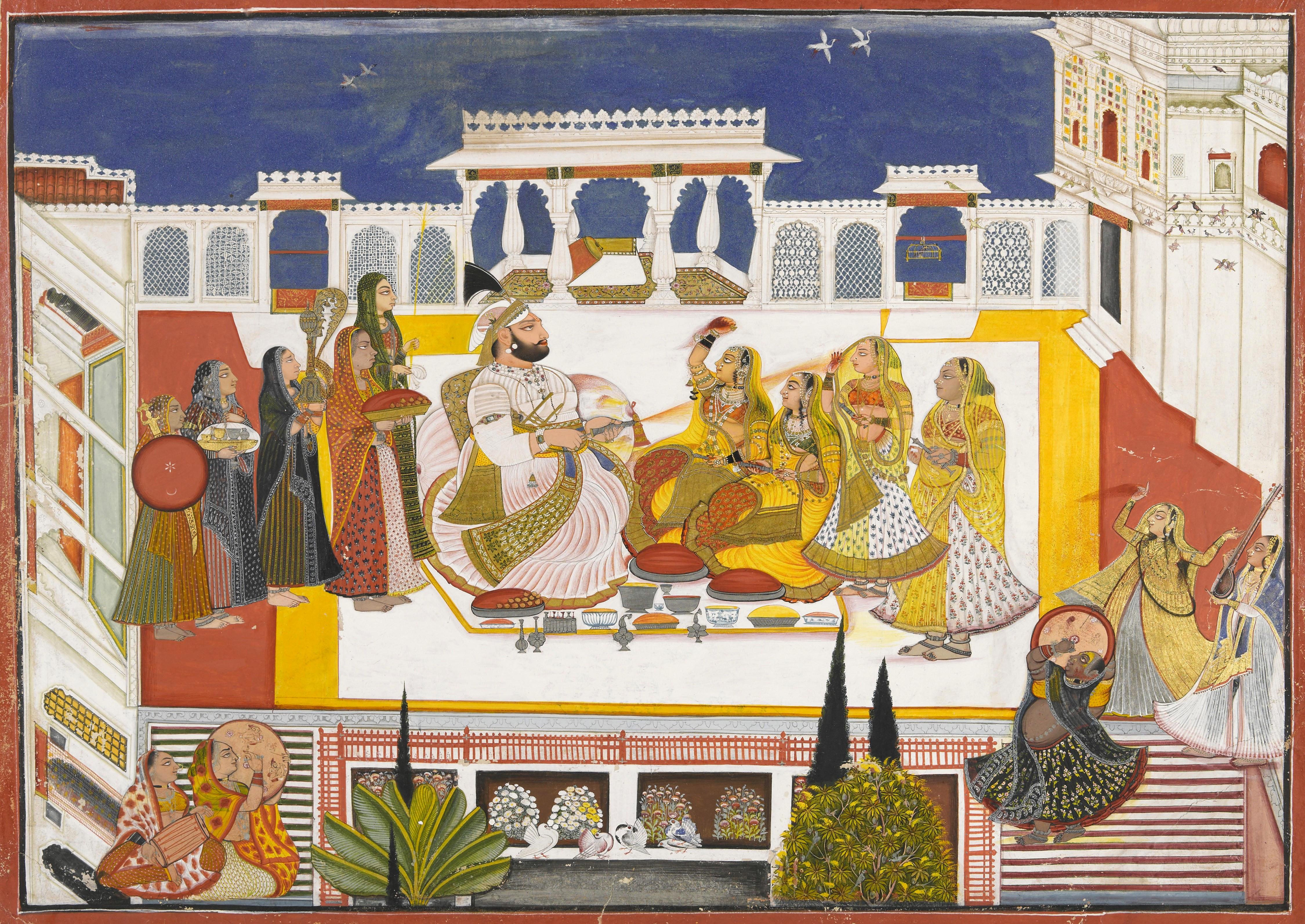 Miniature Painting of holi celebration at Devgarh. Rawat Gokul Das in centre.