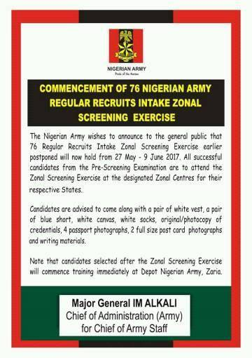 Summary -> Nigerian Armydeport 78th Regular Intake Recruitment Form