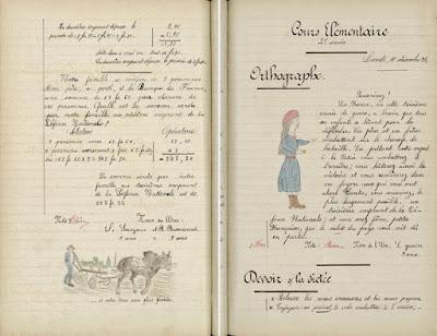 Exemples d'exercices de calcul et de dictée donnés lors de la « Semaine de l'Emprunt », 1917-1918 (Archives municipales de Nantes sur le site Mission Centenaire 14-18)