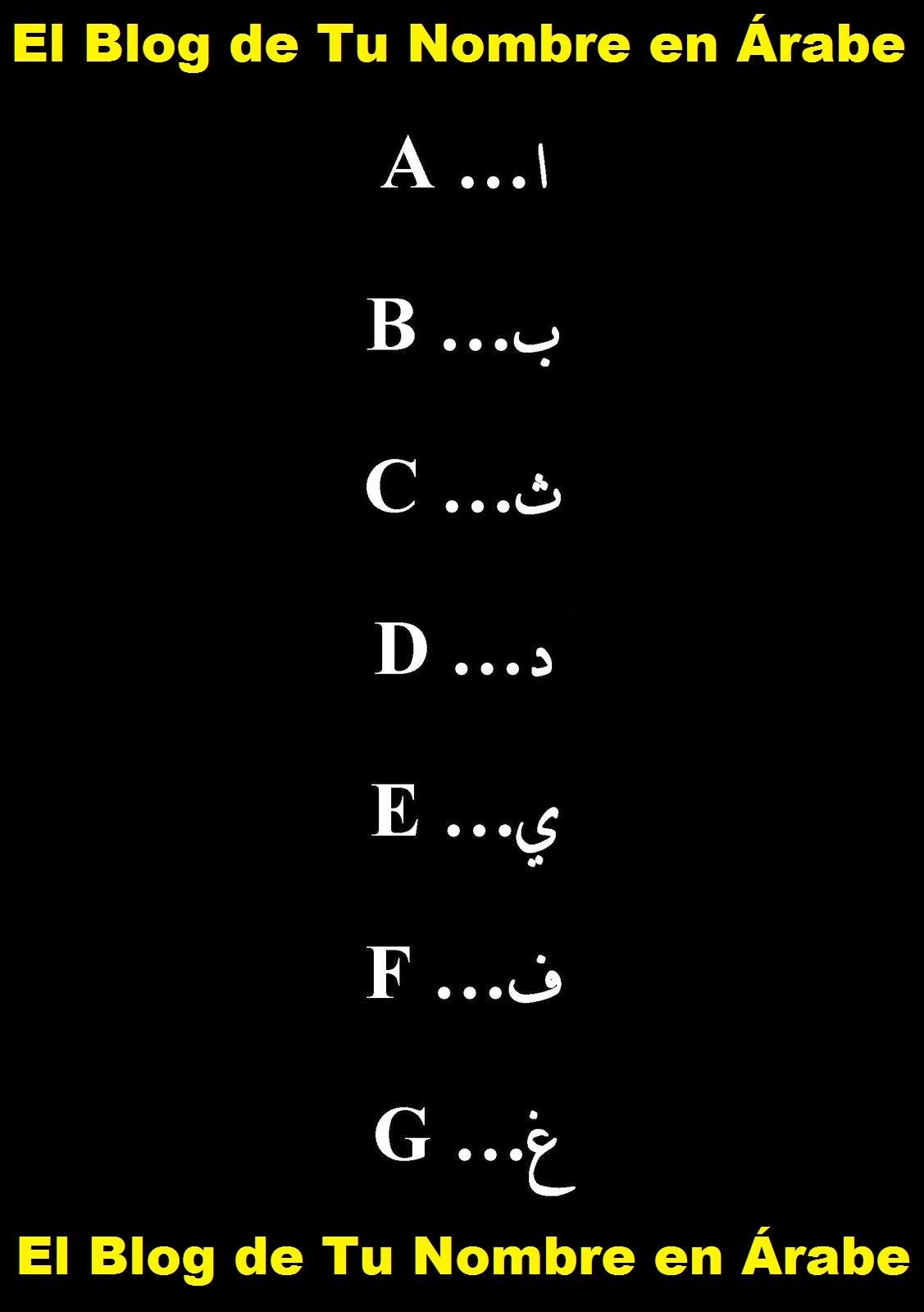 LETRAS ARABES: A B C D E F G