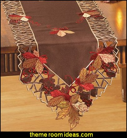 Embroidered Autumn Leaves Table Linens