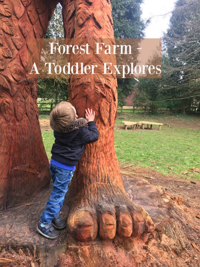 Forest-farm-a-toddler-explores-text-over-image-of-boy-looking-up-next-to-a-giants-leg