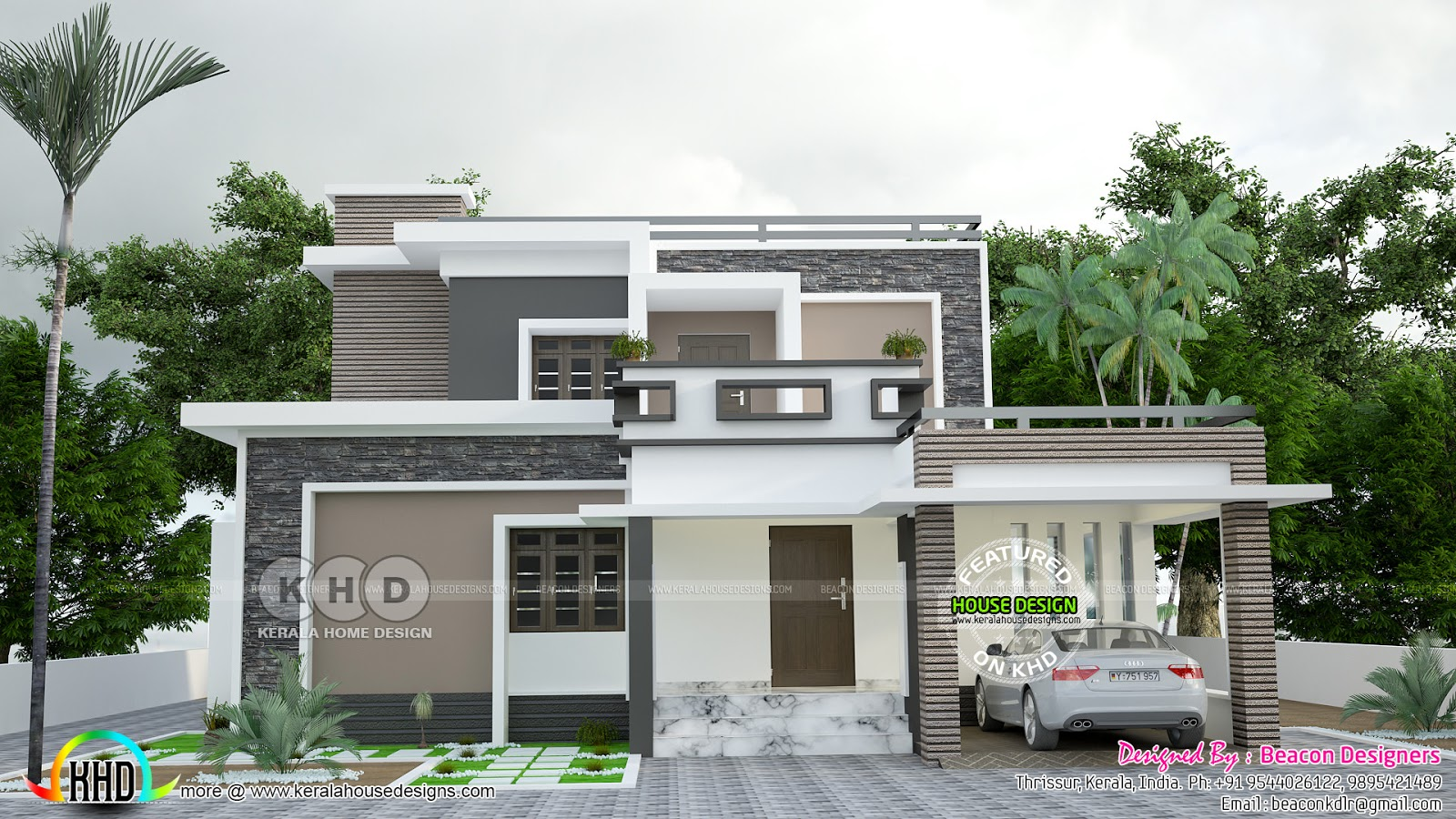 1745 Square Feet 4 Bedroom Flat Roof House Kerala Home