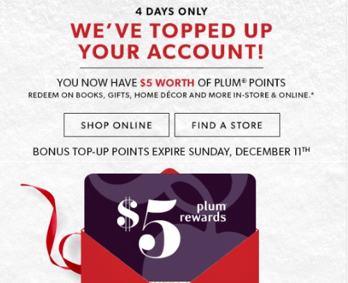 Chapters Indigo $5 Free Plum Reward Points Special Offer